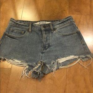 "Brandy Melville denim cutoff shorts button fly 25"""